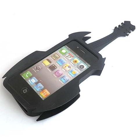 面白 iPhone4/4Sケース ROCK GUITAR(ブラック)
