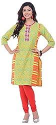 NAVRACHNA Women's Cotton Kurta (NV29_84-YELLOW_42, Yellow, 42)