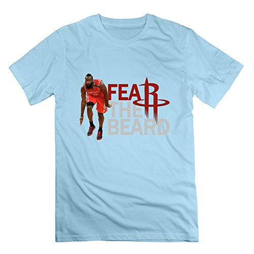 HTAD Men's James Harden Fear The Beard 100% Cotton Tee SkyBlue Size XS (Longest Beard)