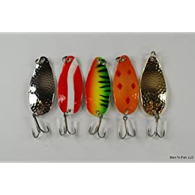 "Lot of 5 New 2.45"" Casting Hammered Spoon Fishing Lure for Northern Pike, Salmon, Walleye, and Largemouth Bass"