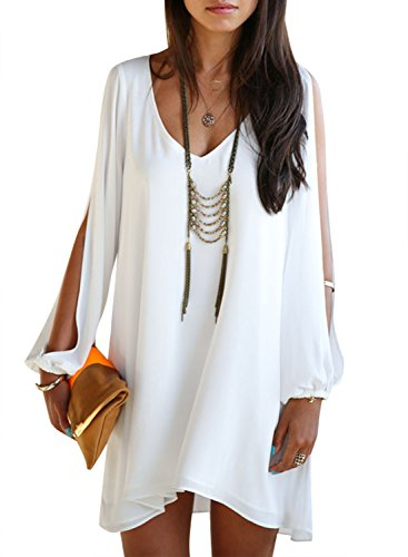 Viwenni Sexy Womens V-Neck Loose Irregular Hem Summer Chiffon Short Beach Dress- White- Large