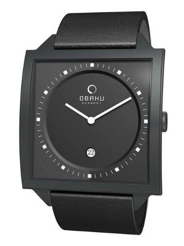 Obaku Harmony V116U BBRB - Reloj unisex de cuarzo, correa de piel color negro