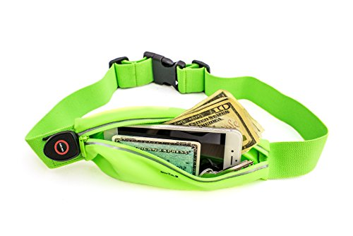 LED Reflective Running Belt Pouch with USB Rechargeable Light - iPhone 6 Plus, Phone, Key Holder for Runners - Waist Fanny Pack for High Visibility during Walking and Cycling (Protective Horse Riding Vest compare prices)