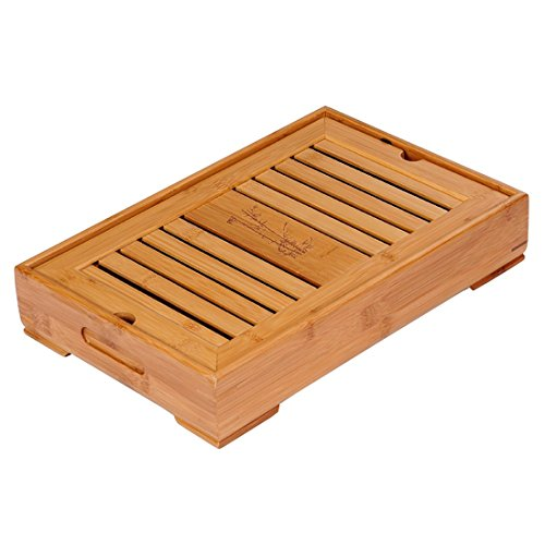 Tea Talent Reservoir Portable Travel Type Tea Tray - Japanese / Chinese Kungfu Tea Set Bamboo Box Gongfu Tea Table Serving Tray 11 x 6.3 x 2.56 Inch, Original Color Engagement Fine China Japan