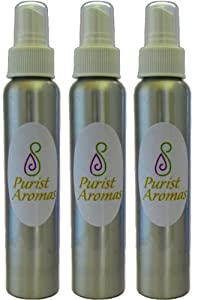 Aromatherapy Body Mist Gift Set, Certified Organic and All Natural Ingredients, Scents Peppermint Appeal, Cool Mint, Green Tea. Three 4oz bottles