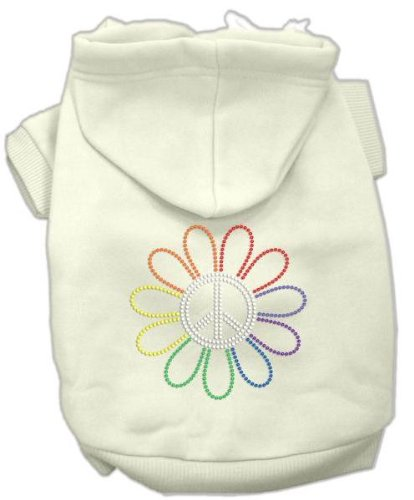 Rhinestone Rainbow Flower Peace Sign Hoodie Cream Xl (16) Rhinestone Rainbow Flower Peace Sign Hood front-114374