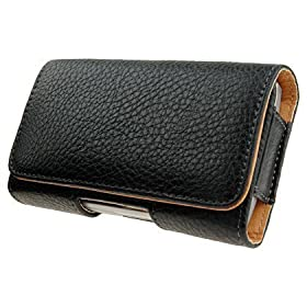 Apple iPhone 3G Textured Leather Horizontal Carrying Case with Fixed Belt Clip and Belt Loop