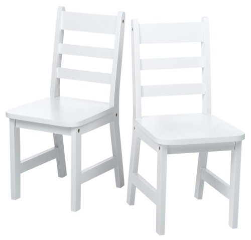 Lipper International 524W Child's Round Table and 2-Chair Set, White