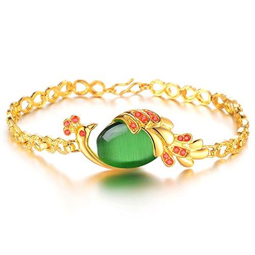 Ice-Beauty Shinning Peacoke Agate Stone Copper Plating 18K Gold Bangle Bracelet(Green)