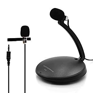 VAlinks® 3.5mm Desktop Condenser Microphone Mic with Mount Stand and Tie-Clip for Audio Sound Recording, Online Meeting, Training, Speech, Skype, FaceTime, Microsoft Cortana, LOL, Youtube and More