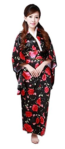 Kimono Robe [ Black Rose Blossoms Design ] Japanese Traditional Costume Moden Version (Red Dragon Girl Geisha Costume)