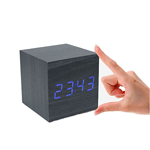 Shouldbuy Home Bedside Mute Clocks , Office Family Desk Digital Alarm Clocks Balck Wood Blue LED Despertador, Desktop Table Electronic Clock