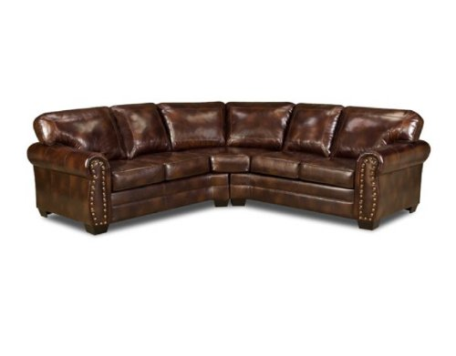 Where to buy simmons 9222dn encore brown leather sectional for Aspen sectional leather sofa with ottoman reviews