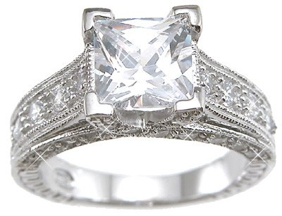 Sterling Silver Cubic Zirconia CZ Princess Cut Engagement Promise Ring Size 5 6 7 8 9