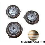 Shaving-Planet TM Compatible Set of 3 For Phillips Norelco HQ8 SH50/52 Electric Shaving Head Razor Blades PT720 PT724 PT730 AT810 AT830 HQ6090 7800XL HQ8160 , 3000, 5000, Dual Precision Razor