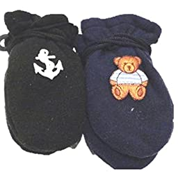 Set of Two Pairs Mongolian Fleece Very Warm Mittens for Infants Ages 3-12 Months