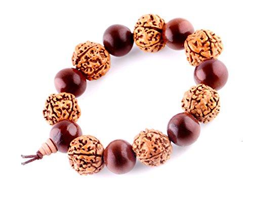 MBOX Wood Beads Tibetan Buddhist Prayer Bracelet Mala (Walnut Wood)