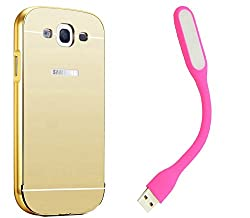 Novo Style Back Cover Case with Bumper Frame Case for Samsung Galaxy S3 S 3 i9300 Golden + Mini USB LED Light Adjust Angle / bendable Portable Flexible USB Light