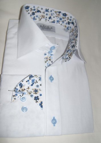 Jermyn street shirts Mens White Slim Fit formal Paisley Shirt - Small