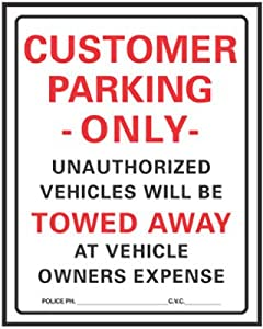 """Hy-Ko Parking Lot Sign Red 19"""" H X 15""""W Customer Parking Only Plastic"""