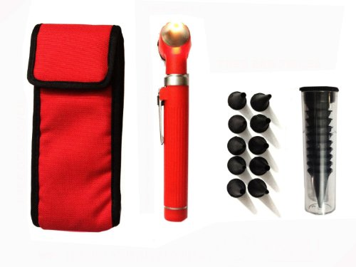 Zzzrt Pro Physician 2.5V Halogen Ligh Fiber Optic Otoscope Mini Pocket Medical Ent Diagnostic Set Red + Free Protective Cover