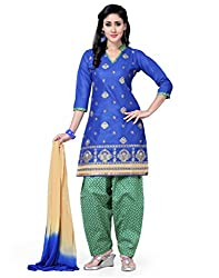 Saree Swarg Blue and Beige Dress Material