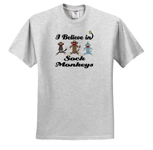Dooni Designs I Believe In Designs - I Believe In Sock Monkeys - T-Shirts - Adult Birch-Gray-T-Shirt Large
