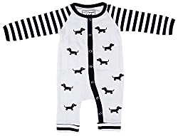 Lil Penguin Baby Boys' Cotton Romper (LP03B3, White and Black, 3-6 Months)