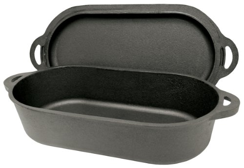 Bayou Classic 7475 Oval Fryer with Griddle Lid, 6-Quart