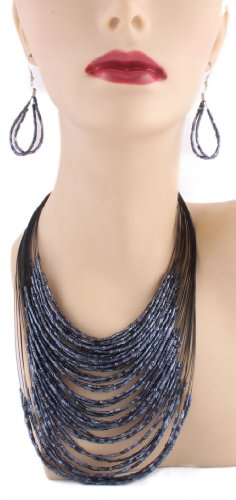 Ladies Dark Navy String Beaded 24 Inch Adjustable Chain Necklace with Matching Dangle Earrings Jewelry Set