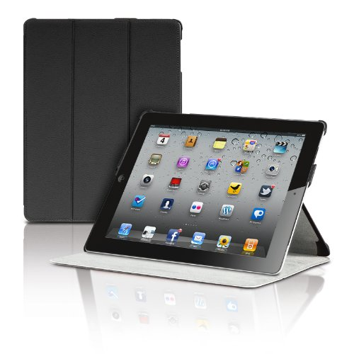 The New iPad 3rd Generation Magnetic Smart Cover Portfolio Case by Photive With Built-In Stand - Front &#038; Back Protection for iPad 3 (Latest Version With Built-In Magnet for Sleep/Wake Feature) - Black