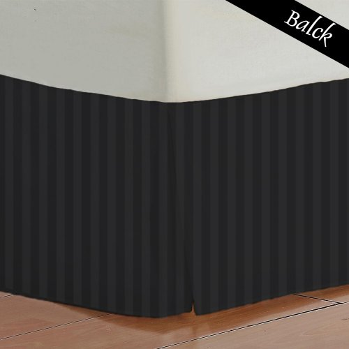 "500 Tc Egyptian Cotton Bedding 1X Bed Skirt 17"" Inch Drop Queen (60X80"") Black Stripe front-197165"