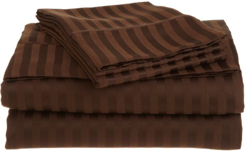Stripes Chocolate 300 Thread Count Twin Extra Long Size Sheet Set 100 % Egyptian Cotton 3Pc Bed Sheet Set (Deep Pocket)Xl Twin By Sheetsnthings front-1008976
