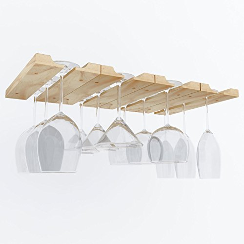 Hanging Under Cabinet Stemware Wine Glass Holder Rack , Adjustable Natural Wood , Pack of 2 (Wood Wine Glass Hanging Rack compare prices)