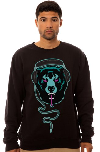 Street Vault Men'S Headphone Adder Crewneck Sweatshirt Large Black