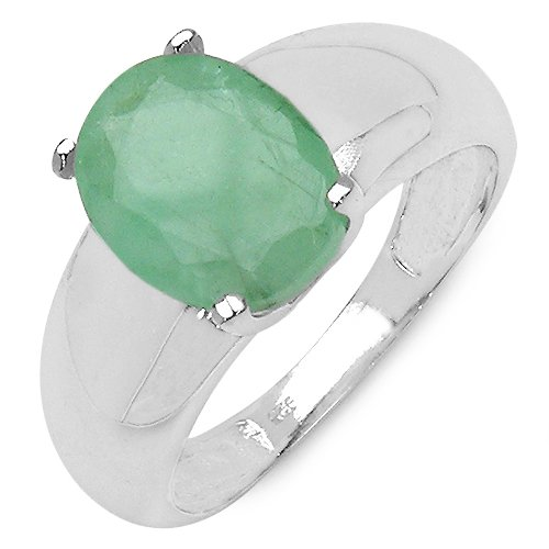 2.50 Carat Genuine Emerald Oval Shape Solitaire Silver Ring