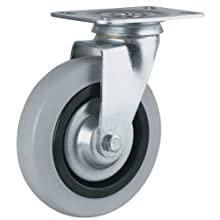 "Revvo Caster Sovereign Series Plate Caster, Swivel, Rubber Wheel, 264 lbs Capacity, 4"" Wheel Dia, 1-3/16"" Wheel Width, 5"" Mount Height, 4"" Plate Length, 3-1/8"" Plate Width"