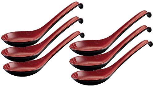 Happy Sales Melamine Soba, Rice Spoons, Chinese Won Ton Soup Spoon, Asian Red and Black, 6 Pack Ladle Style (Soup Spoon Melamine compare prices)