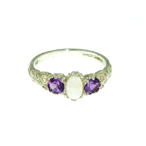 Sterling Silver Ladies Colourful Fiery Opal  &  Amethyst Ring - Size L - Finger Sizes L to Z Available