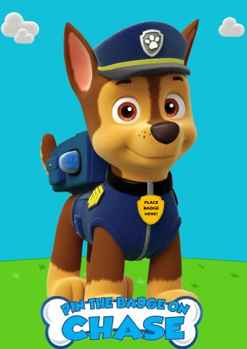 Best Price Pin the Badge on Chase Paw Patrol Custom Inspired Game for Birthday Party