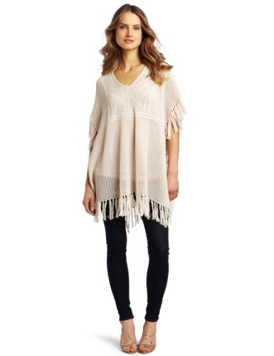 Design History Women's Crochet and Fringed Poncho, Bone, Small