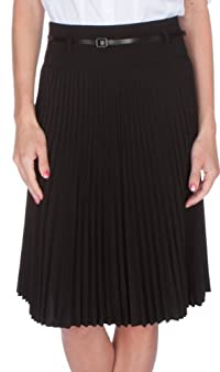 Knee Length Pleated A-Line Skirt with Skinny Belt