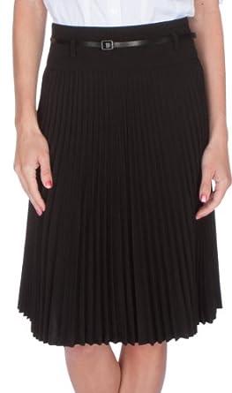 FV3543 Knee Length Pleated A-Line Skirt with Skinny Belt - Black / S