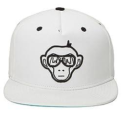 Urban Monkey Premium White Adjustable Baseball Snapback Free Size Unisex Hip Hop Cap