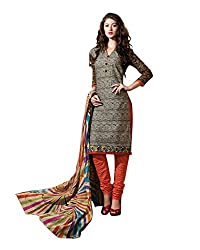 Drapes Women's Cotton Unstitched Dress Material (DF0670, Brown, Free Size)