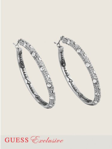 GUESS Disc Hoop Earrings, SILVER