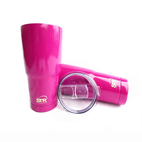 STR Double-Wall Insulated Tumbler|SUPERIOR QUALITY WITH 100% SPLASH PROOF NEW LID |36 HOURS ICE|12 HOURS SCALDING HOT| 30 Oz Travel Mug| Sweat Free| Powder Coated |Custom Colors (Hot Pink)