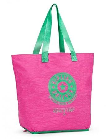 0487242d0 Kipling Hiphurray Large Foldable Shopper Tote Bag Orchid Pink Cactus Green  on PopScreen