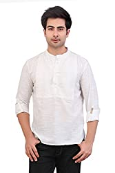 Veda Men Checkered Pintucked Short Kurta - White
