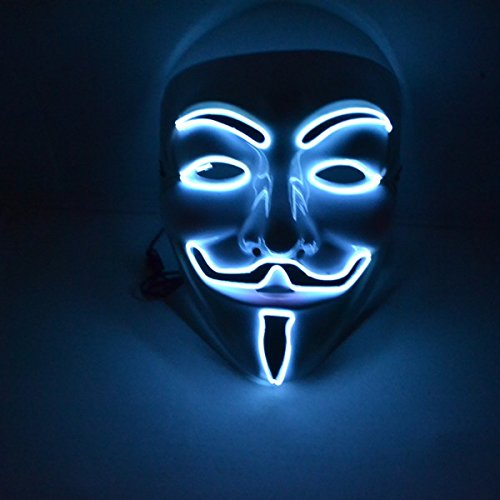 White El Wire Rave LED Mask Light up Guy Fawkes Anonymous V for Vendetta Mask